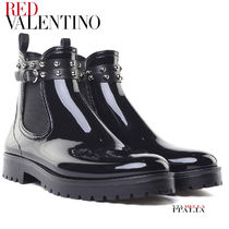 RED VALENTINO Plain Toe Rubber Sole Casual Style Plain Chelsea Boots