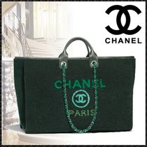 CHANEL DEAUVILLE Lambskin Blended Fabrics A4 2WAY Chain Elegant Style Totes