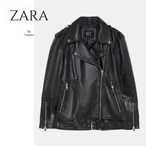 ZARA Unisex Street Style Plain Leather Medium Oversized