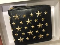 Jimmy Choo Star Unisex Studded Leather Logo Folding Wallets