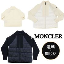MONCLER Unisex Wool Long Sleeves Plain Logos on the Sleeves