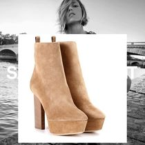 Saint Laurent Suede Plain Block Heels Elegant Style Ankle & Booties Boots