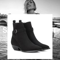 Saint Laurent Suede Plain Elegant Style Ankle & Booties Boots