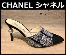 CHANEL ICON Other Check Patterns Blended Fabrics Pin Heels Elegant Style
