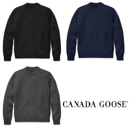 CANADA GOOSE Knits & Sweaters Crew Neck Wool Long Sleeves Plain Knits & Sweaters