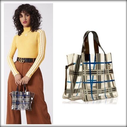 Other Check Patterns Casual Style Crystal Clear Bags Totes