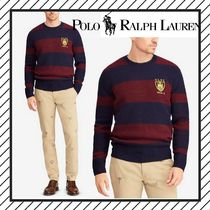 POLO RALPH LAUREN Crew Neck Stripes Wool Low Gauge Long Sleeves