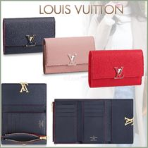Louis Vuitton CAPUCINES Blended Fabrics Plain Leather Small Wallet Folding Wallets