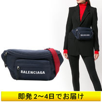 BALENCIAGA NAVY Unisex Nylon Plain Shoulder Bags