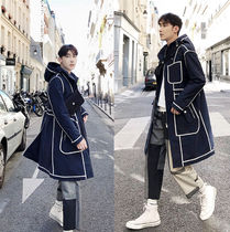 Stripes Street Style Plain Long Oversized Chester Coats