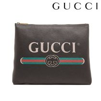 GUCCI Unisex Street Style A4 Leather Oversized Clutches