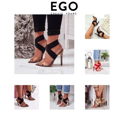 Open Toe Casual Style Blended Fabrics Plain Python Sandals