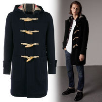 Burberry Wool Plain Long Duffle Coats