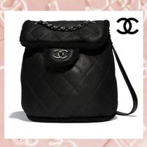 CHANEL Lambskin Blended Fabrics 2WAY Chain Plain Purses