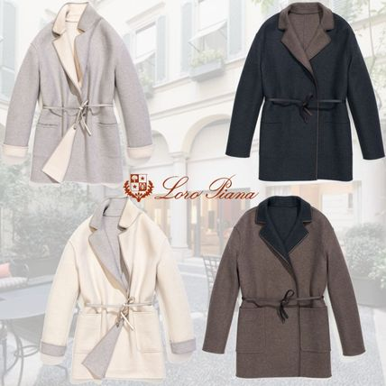 Cashmere Bi-color Medium Elegant Style Outerwear