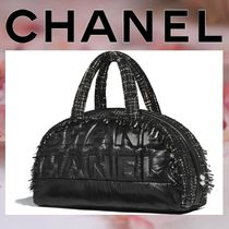 CHANEL Unisex Nylon Blended Fabrics A4 Plain Boston & Duffles