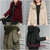 Short Casual Style Faux Fur Peacoats