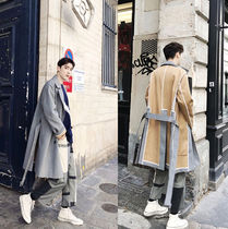 Stripes Street Style Long Oversized Chester Coats