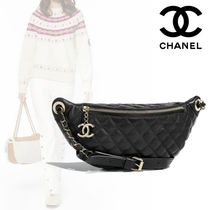 CHANEL Plain Leather Elegant Style Bags