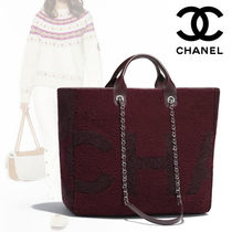 CHANEL A4 2WAY Bi-color Plain Leather Elegant Style Totes