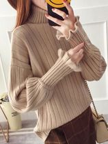 Short Casual Style Rib Puffed Sleeves Plain Turtlenecks