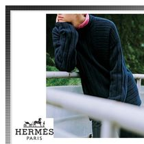 HERMES Crew Neck Long Sleeves Plain Knits & Sweaters
