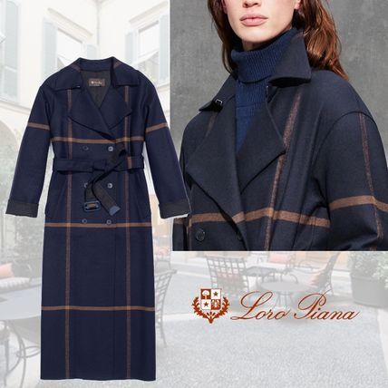Other Check Patterns Wool Long Elegant Style Chester Coats