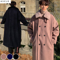 ASCLO Wool Street Style Collaboration Plain Long Oversized Coats