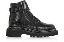 BALMAIN Round Toe Rubber Sole Chain Leather Ankle & Booties Boots