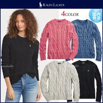 POLO RALPH LAUREN Crew Neck Cable Knit Casual Style Long Sleeves Plain Cotton