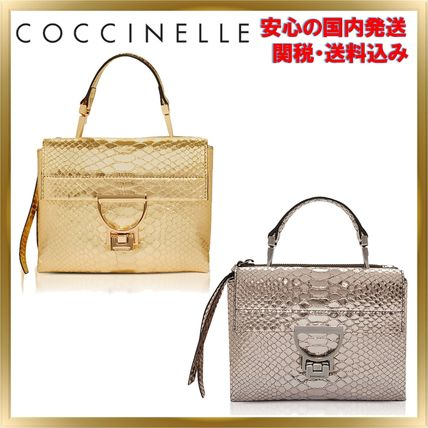 2WAY Plain Leather Python Elegant Style Handbags
