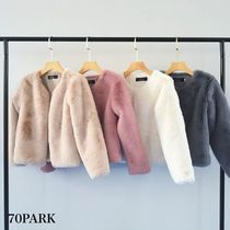 Short Faux Fur Street Style Plain Cashmere & Fur Coats