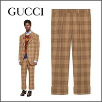 GUCCI Slax Pants Other Check Patterns Wool Slacks Pants