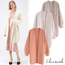 Chicwish Cable Knit Long Sleeves Plain Long Elegant Style Knitwear