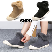 paperplanes Round Toe Rubber Sole Casual Style Fur Plain