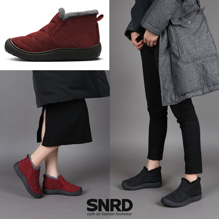 Round Toe Rubber Sole Casual Style Unisex Mid Heel Boots