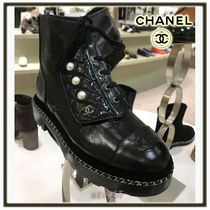 CHANEL Round Toe Lace-up Chain Plain Leather Elegant Style