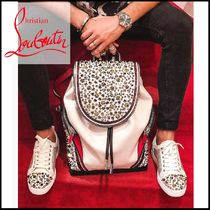 Christian Louboutin Calfskin Studded Street Style Plain With Jewels Backpacks