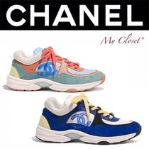 CHANEL ICON Unisex Suede Blended Fabrics Street Style Bi-color Sneakers