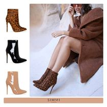 SIMMI Leopard Patterns Street Style Plain Pin Heels PVC Clothing