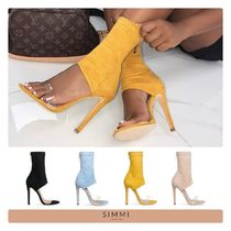 SIMMI Open Toe Suede Street Style Plain Pin Heels Party Style