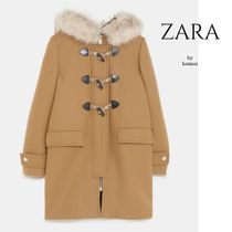 ZARA Casual Style Wool Plain Medium Duffle Coats