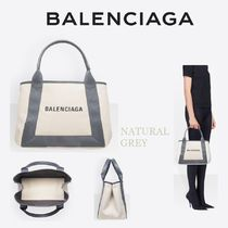BALENCIAGA CABAS Casual Style Canvas Blended Fabrics 2WAY Bi-color Totes