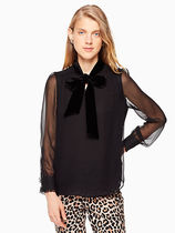 kate spade new york Silk Blended Fabrics Long Sleeves Plain Medium Elegant Style
