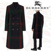 Burberry Tartan Wool Long Oversized Chester Coats