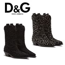 Dolce & Gabbana Leopard Patterns Block Heels Ankle & Booties Boots