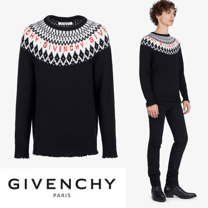GIVENCHY Knits & Sweaters Crew Neck Unisex Wool Long Sleeves Knits & Sweaters