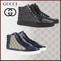 GUCCI Monogram Loafers Unisex Blended Fabrics Street Style Leather