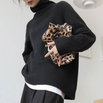 Casual Style Wool Rib Blended Fabrics Long Sleeves Plain
