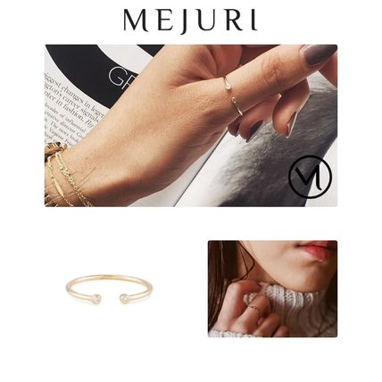Casual Style Unisex Street Style With Jewels 14K Gold Fine